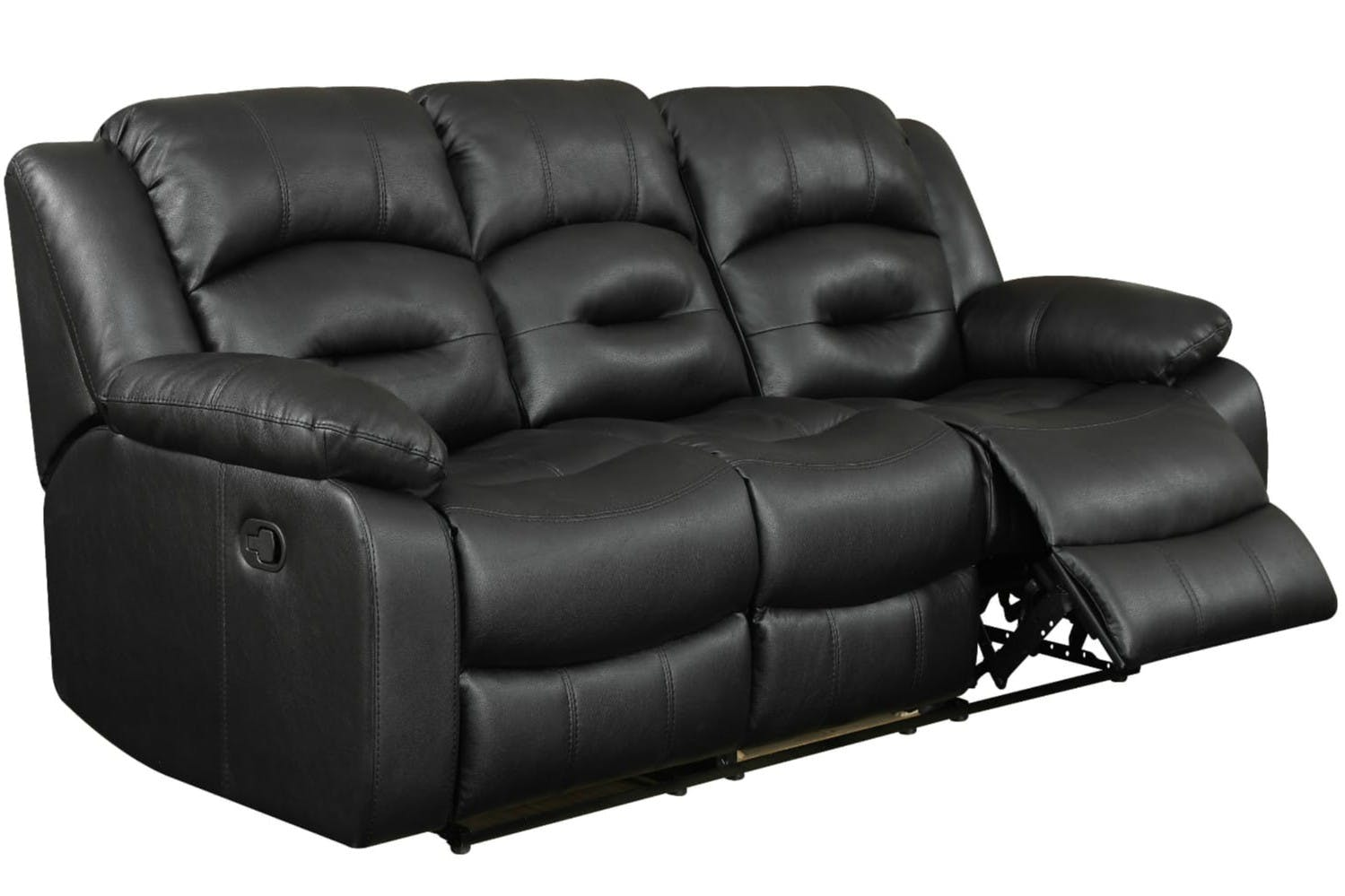 Hunter 3 Seater Recliner Sofa Black