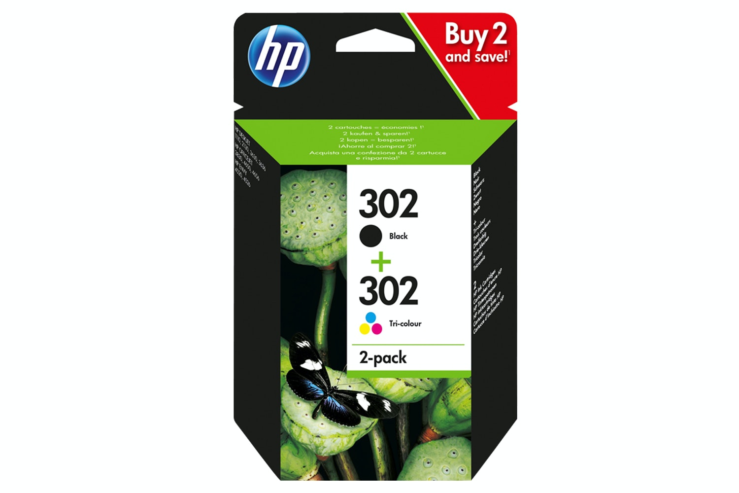 HP 302 Combo Pack Original Ink Cartridges | Black