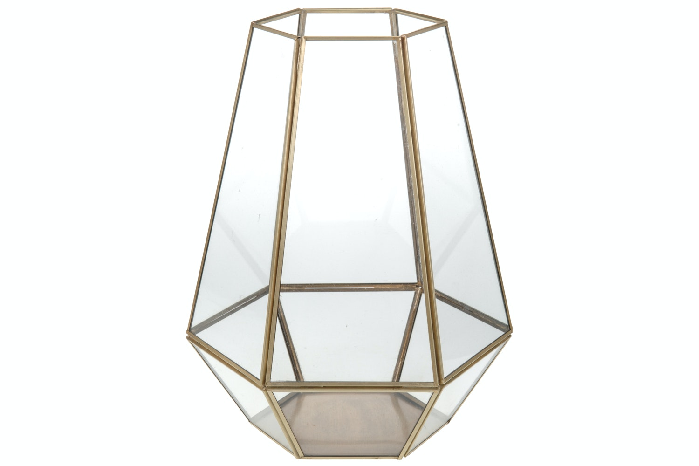 Hexagonal Gold Candle Holder