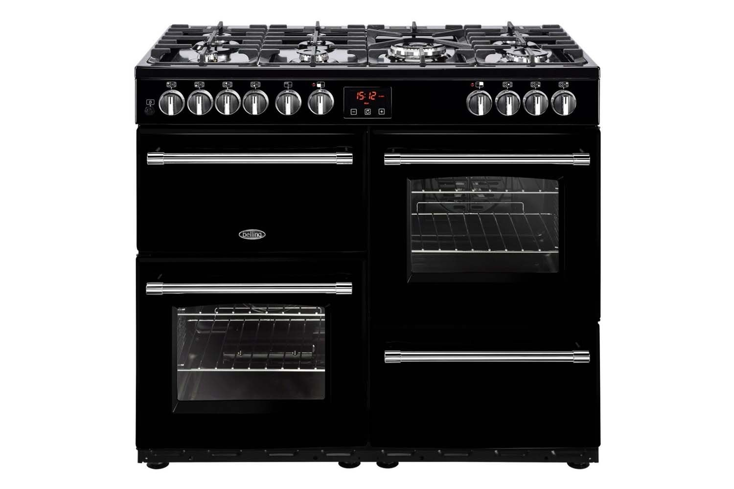 Belling Farmhouse 100cm Dual Fuel Range Cooker | FH100DFTBK | Black