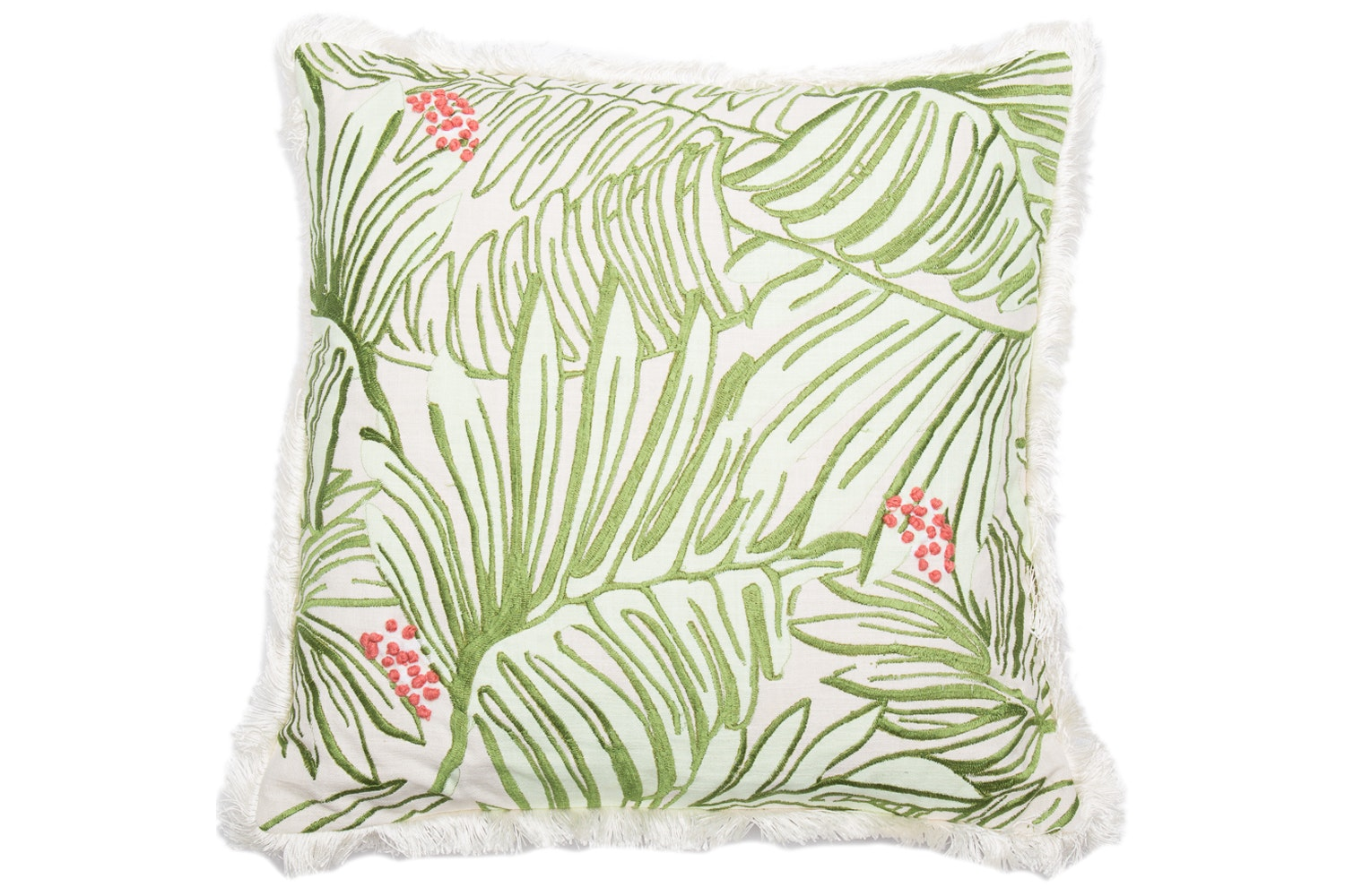 Embroidered French Knot  And Fringe Trim Cushion
