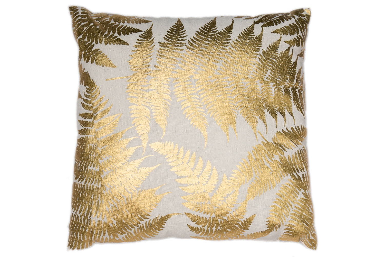 Gold Printed Fern Leaves Cushion