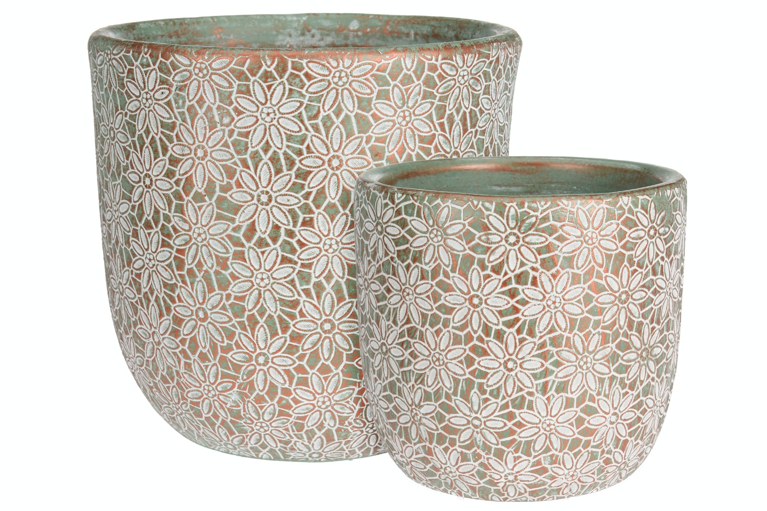 Small Floral Design Pot | Set Of 2