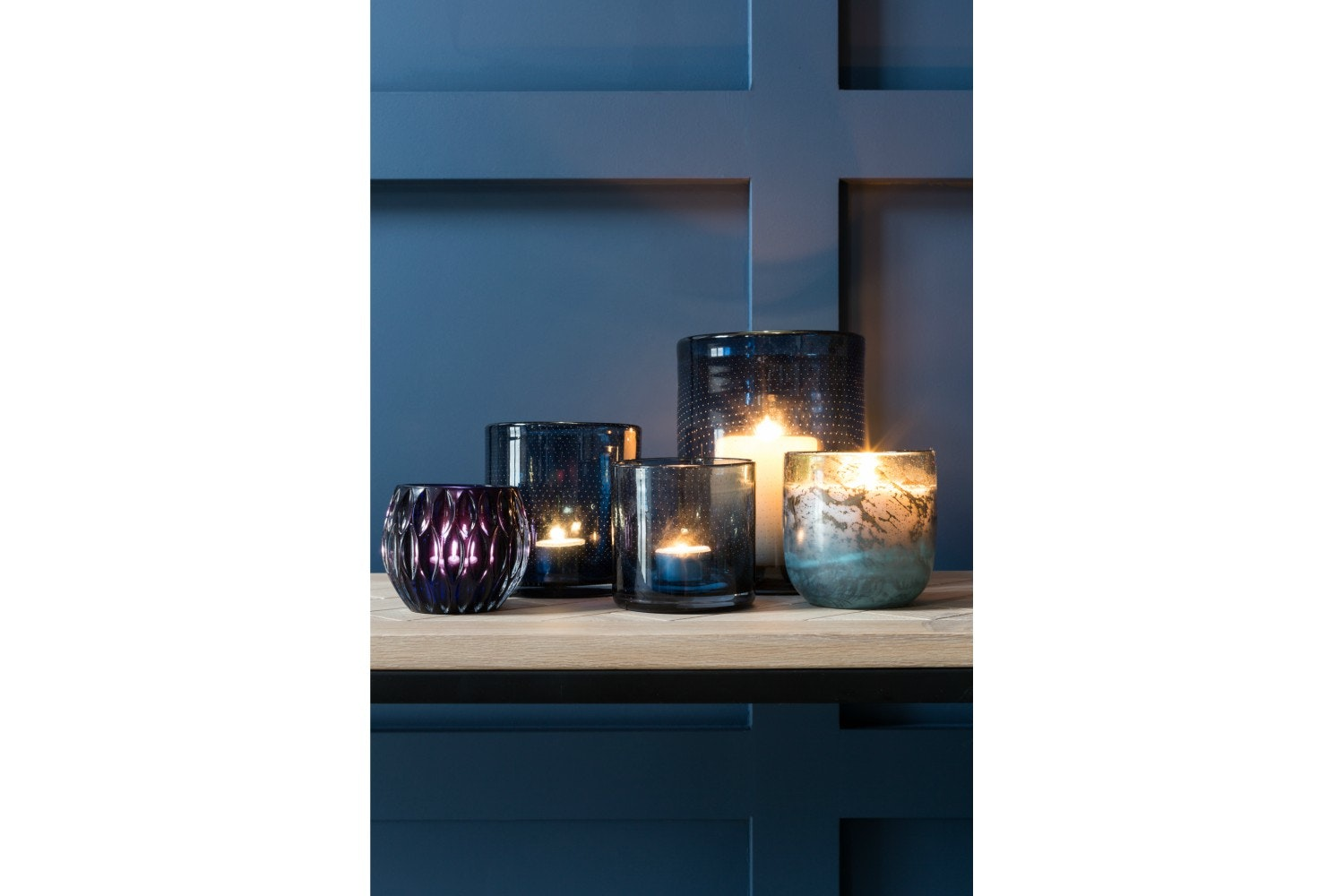 Glass Candle Holder | Small | Indigo Blue