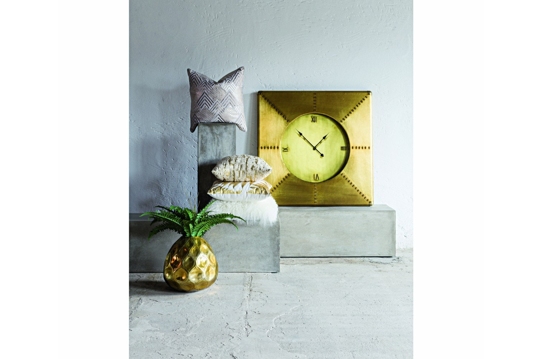 Brass Square Wall Clock