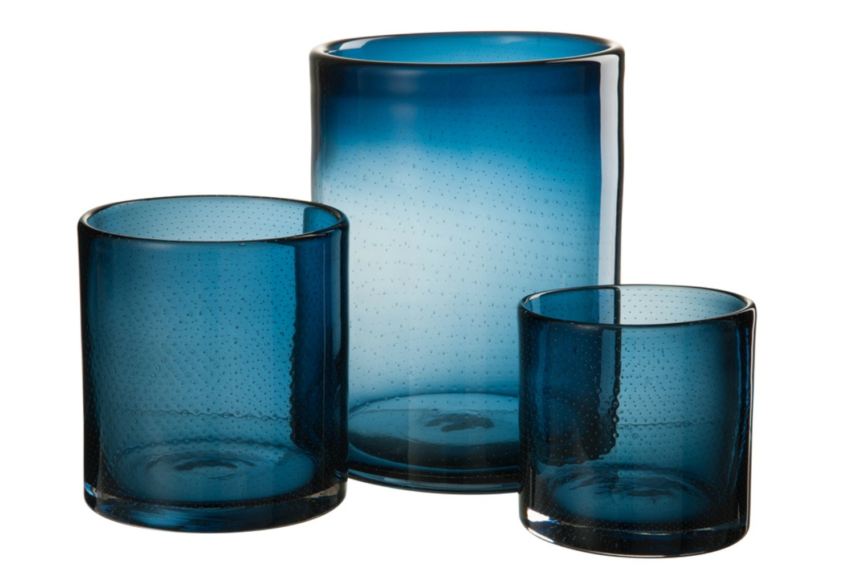 Glass Candle Holder   Large   Indigo Blue