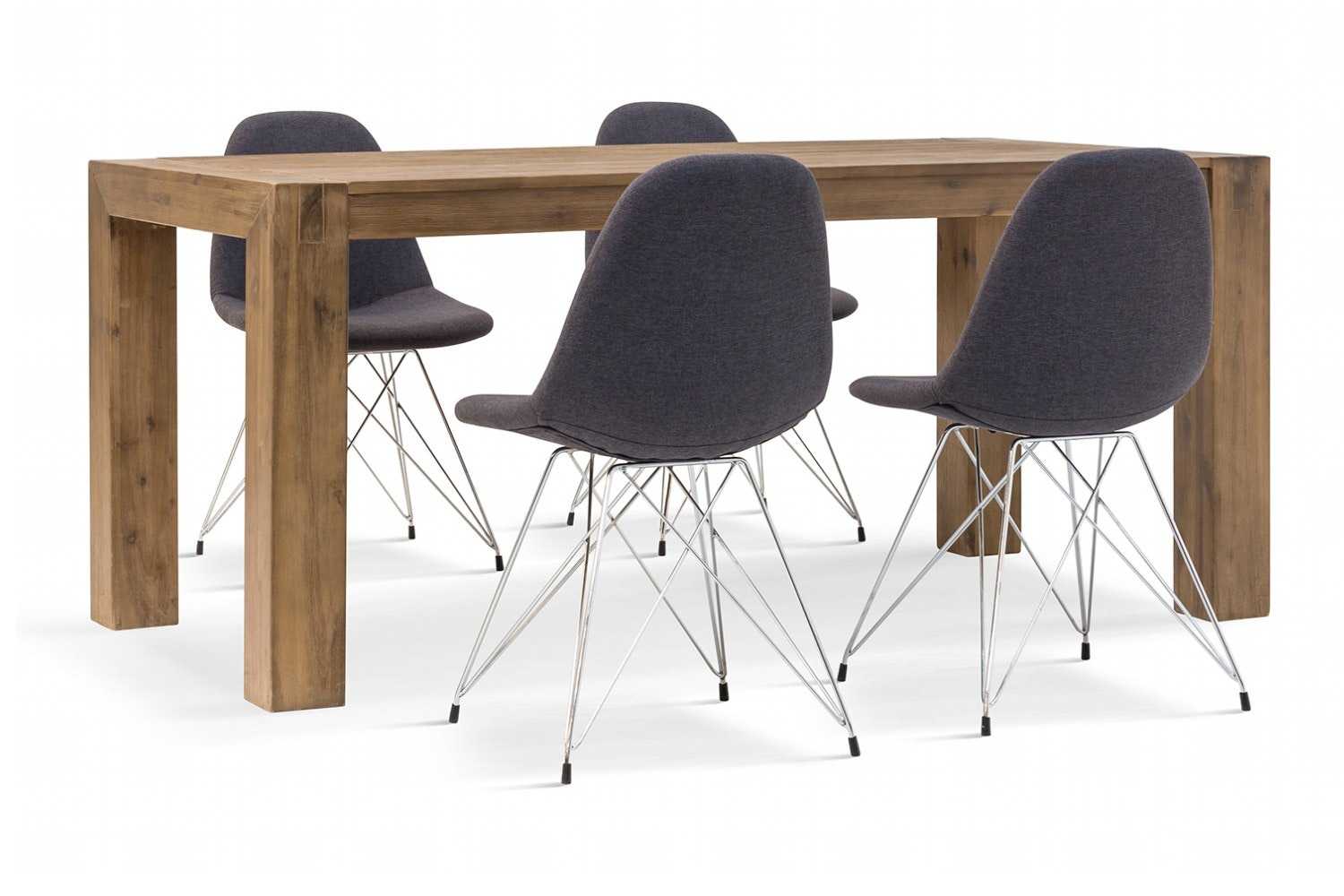 Hamburg 5 Piece Set With Livia Chairs | Grey