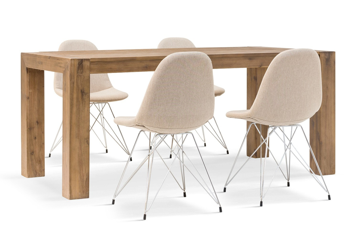 Hamburg 5 Piece Set With Livia Chairs | Natural