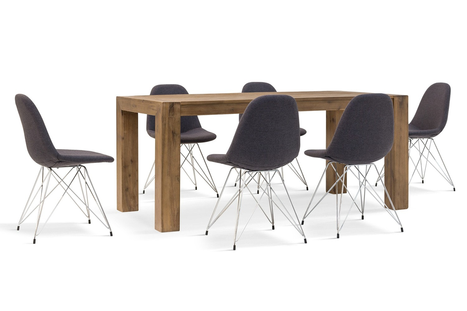 Hamburg 7 Piece Set With Livia Chairs | Grey