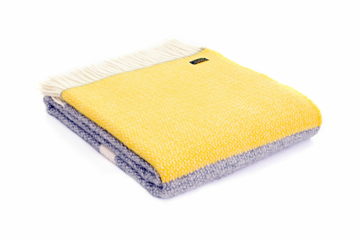 Pure New Wool Tweedmill Throw | Grey & Yellow