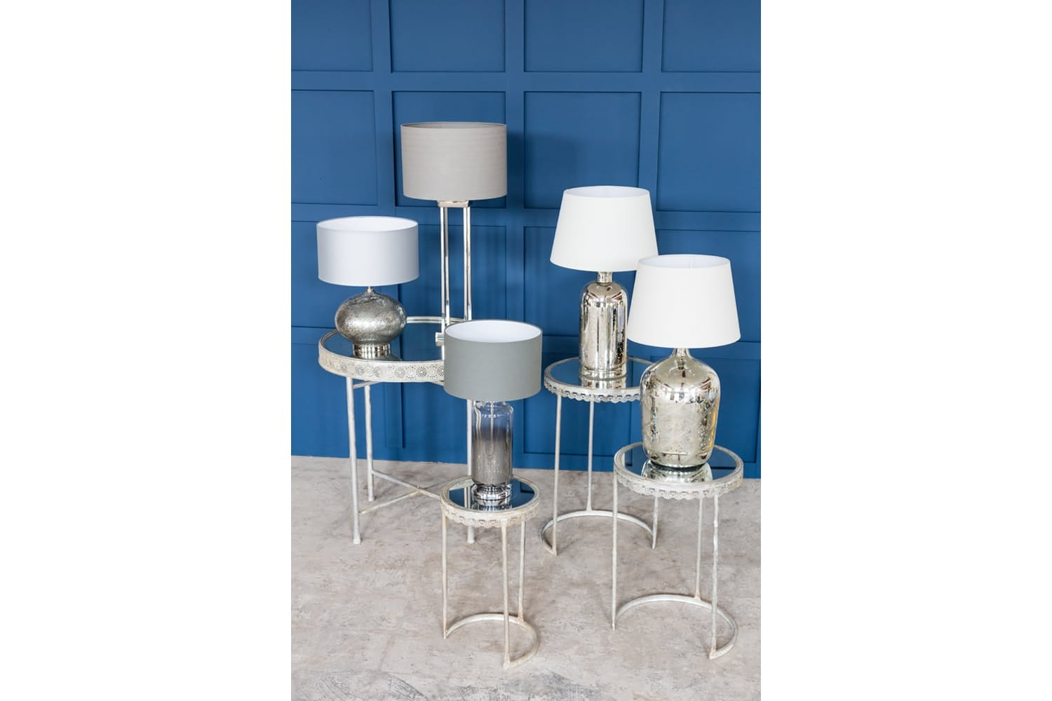 Mercury Glass Table Lamp With Pattern