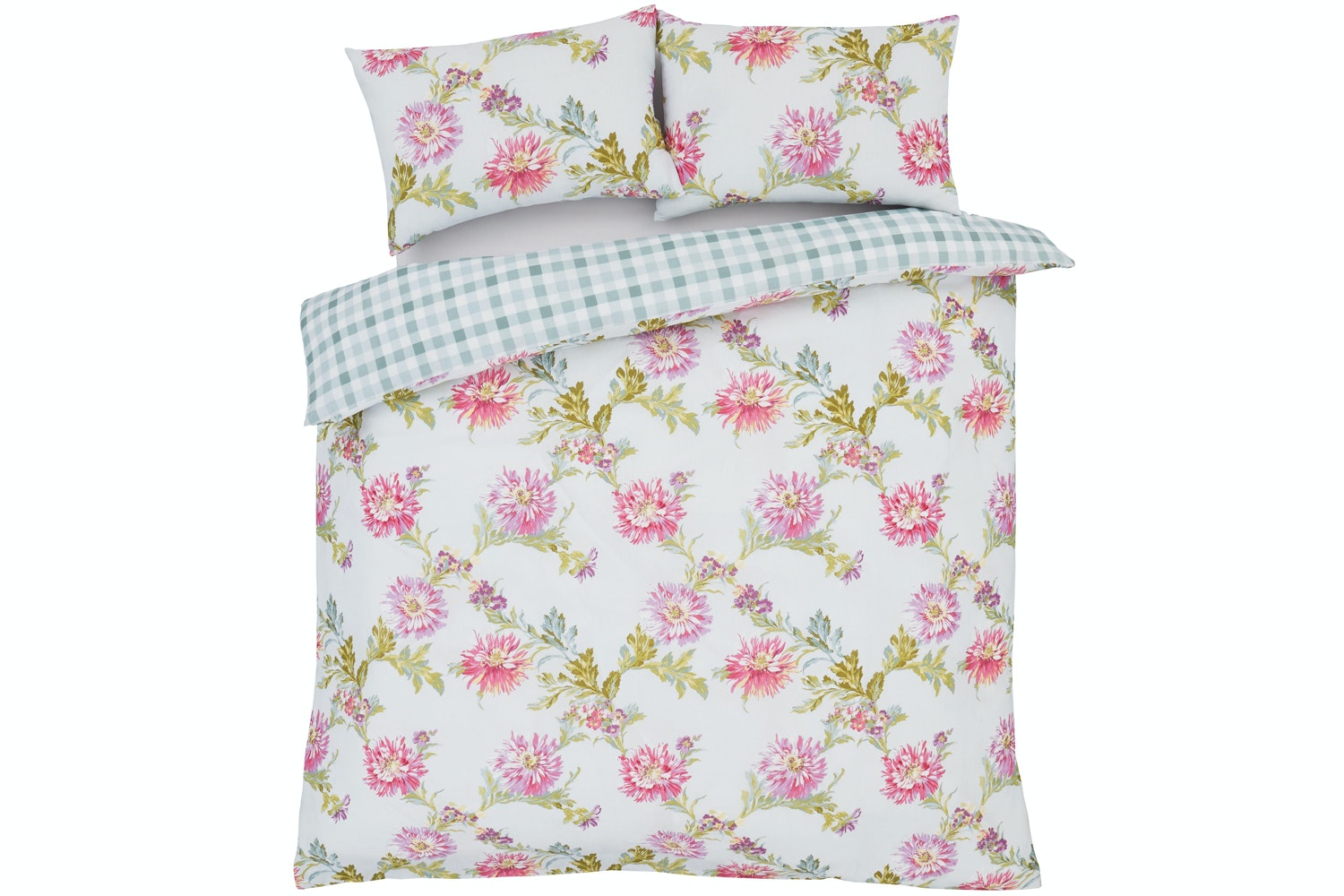 Chrysanthemum Check Duckegg Duvet Cover Set | King