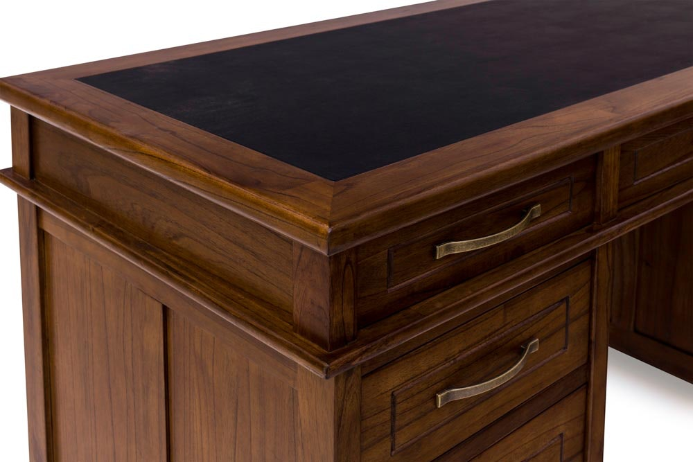 Ebony Office Desk 6 Drawer | Large