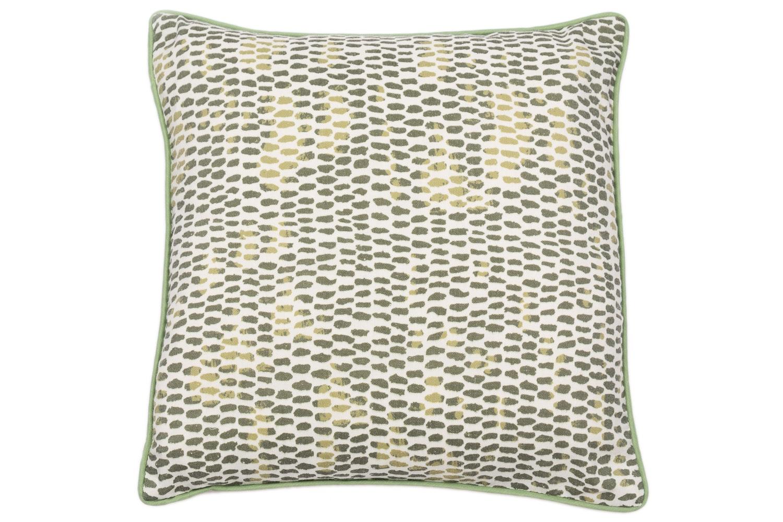 Green Printed Faux Linen Cushion