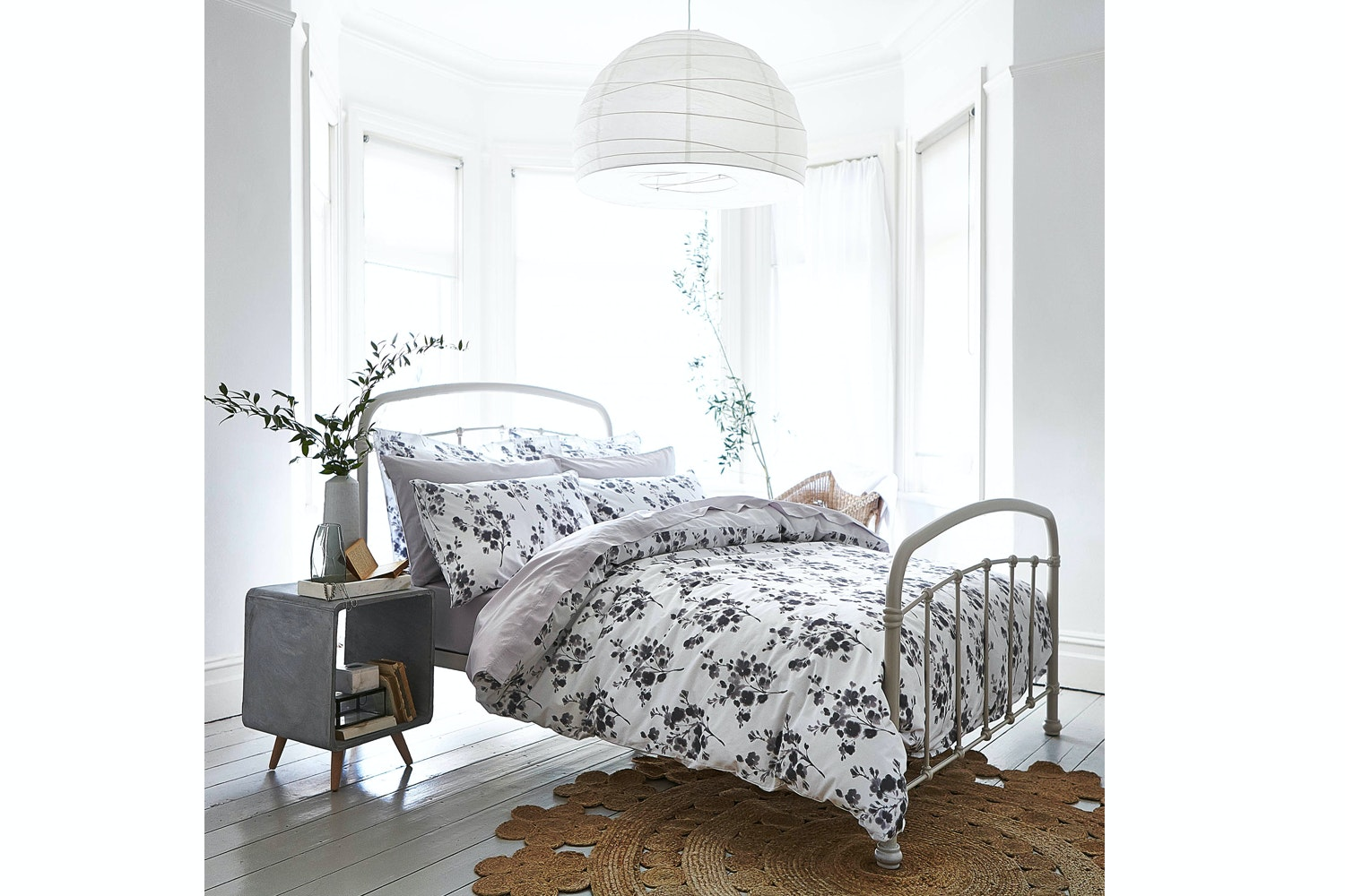 Sprig Cotton Print Grey Duvet Set | Double