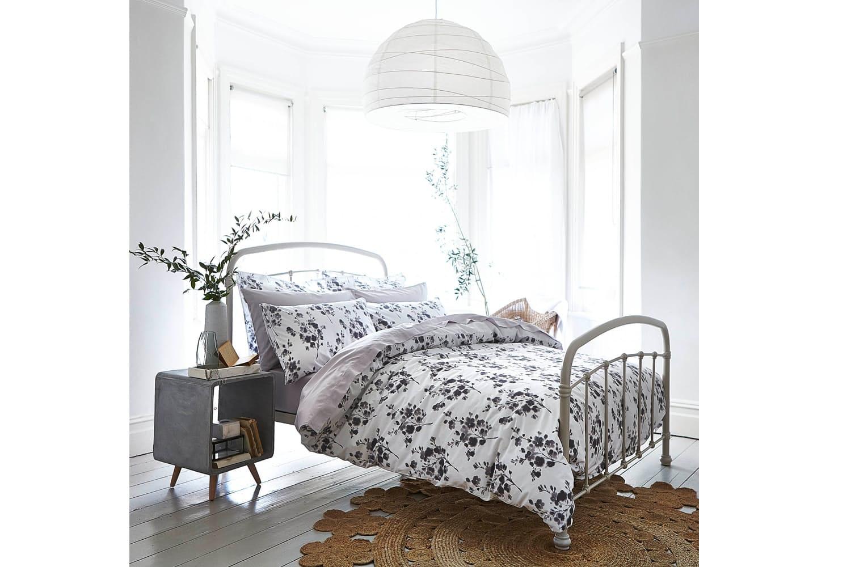 Sprig Cotton Print Grey Duvet Set | King