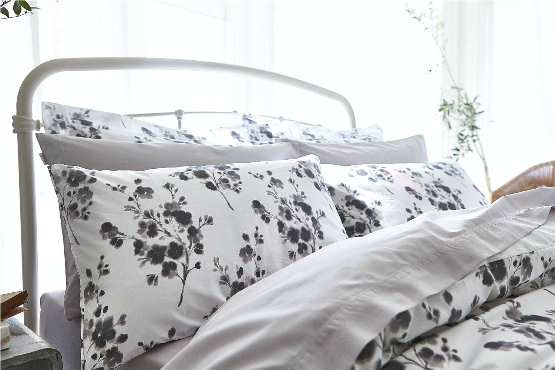 Sprig Cotton Print Grey Duvet Set | Double