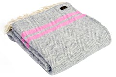 Tweedmill Pure New Wool Throw | Grey & Pink