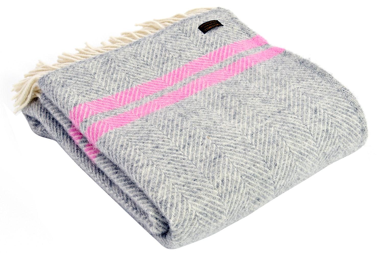 Tweedmill Pure New Wool Throw | Grey U0026 Pink