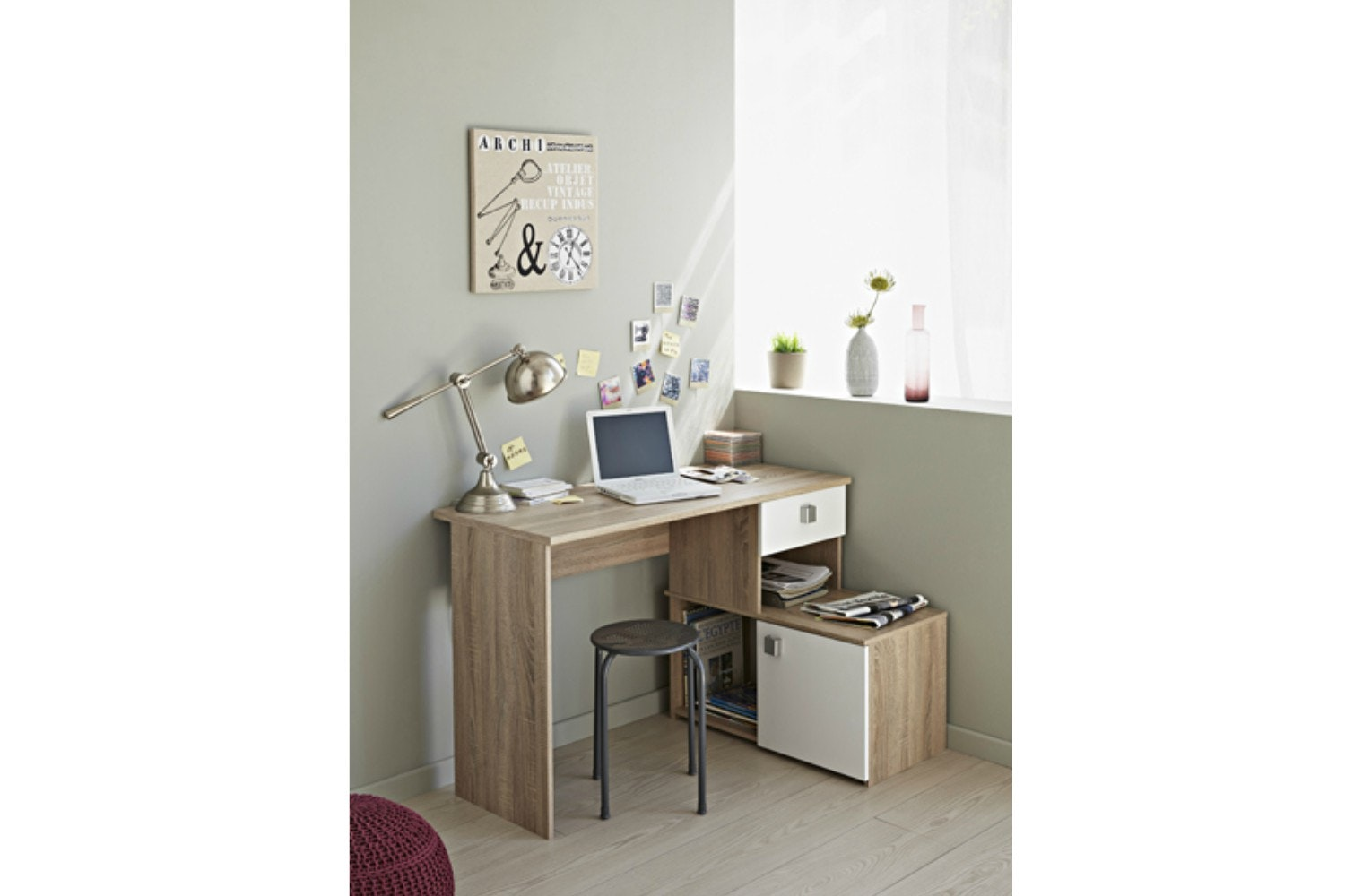Iron Study Desk 2 Configuration | Oak & White