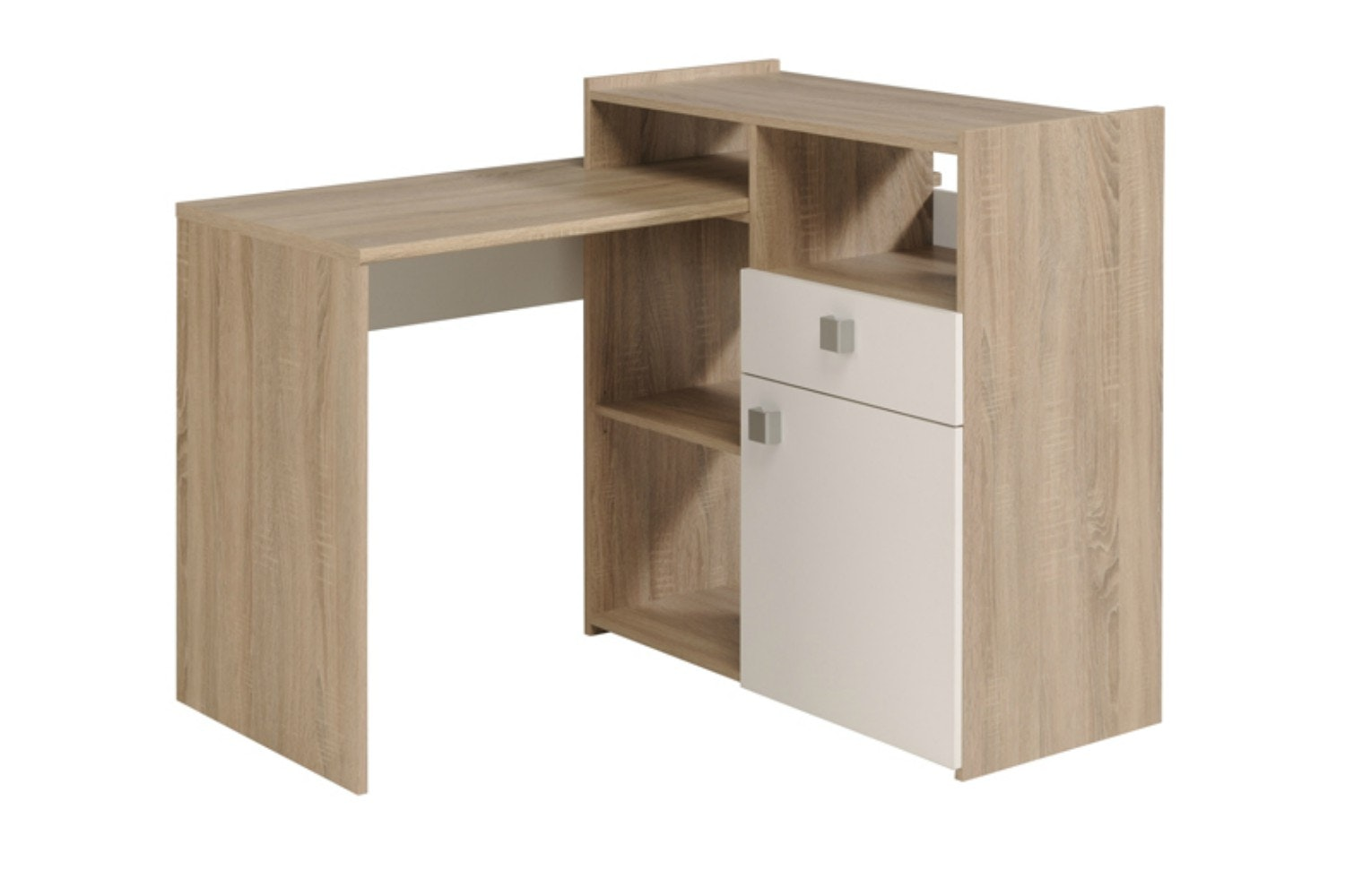 Iron Study Desk 3 Configuration | Oak & White