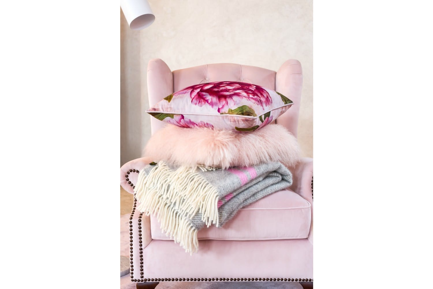 Real Mongolian Pink Cushion