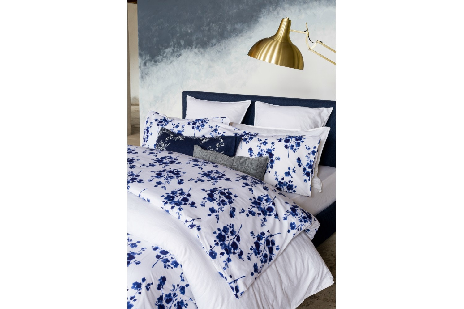 Sprig Cotton Blue Duvet Cover Set | Super King