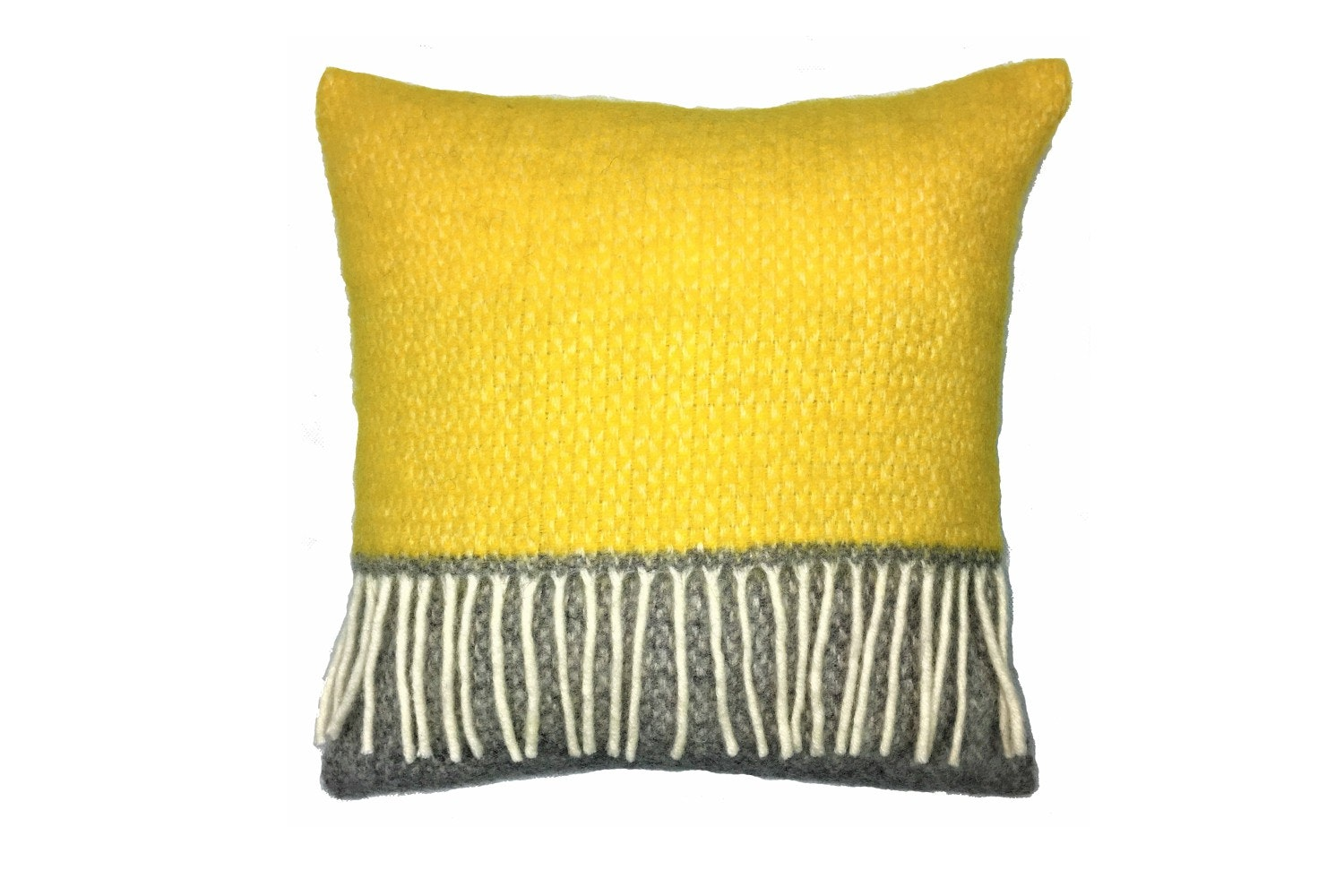 Illusion Panel Cushion | Grey & Yellow