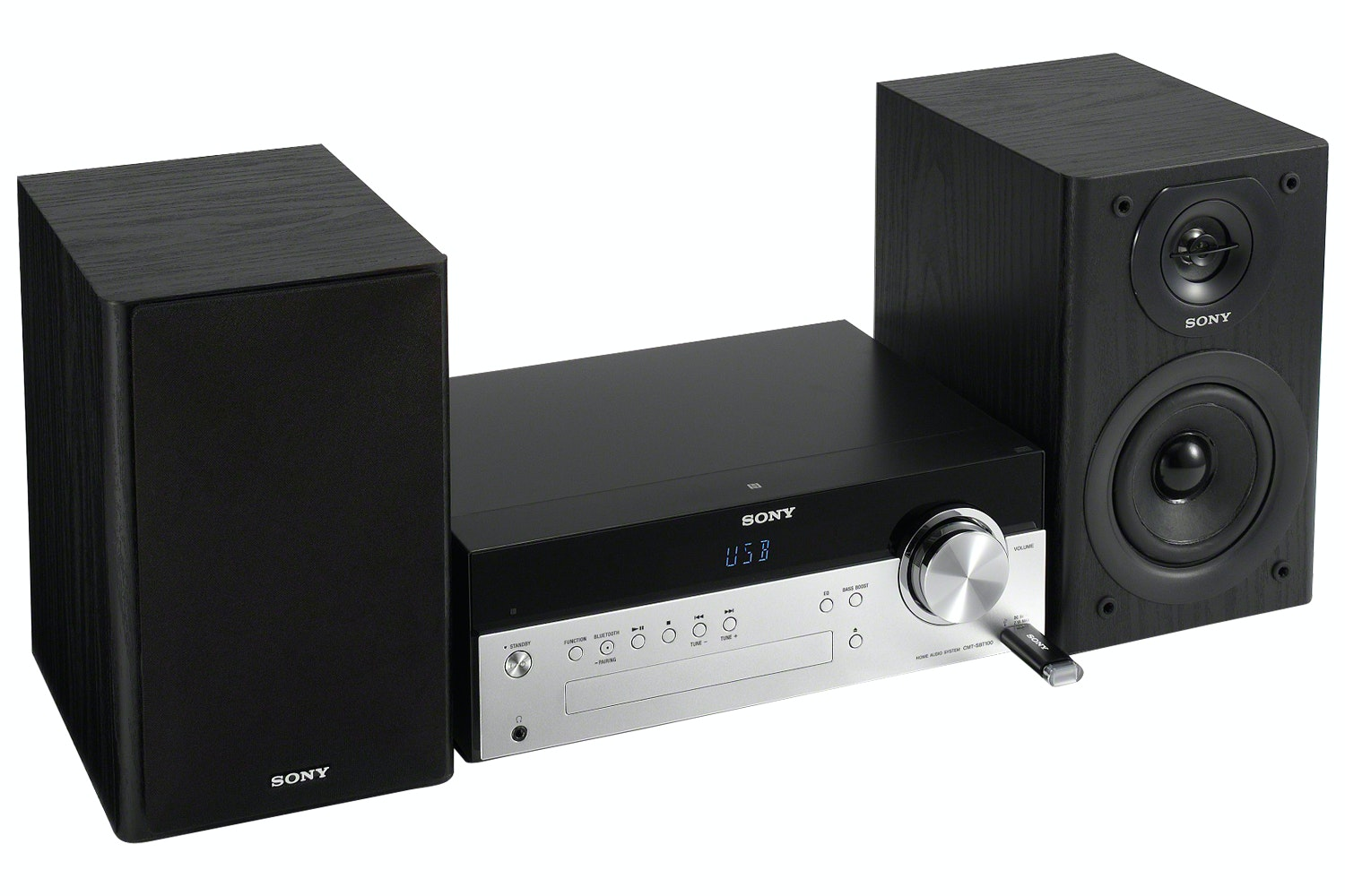 Sony CMT-SBT100B Hi-Fi System with Bluetooth | Black/Silver