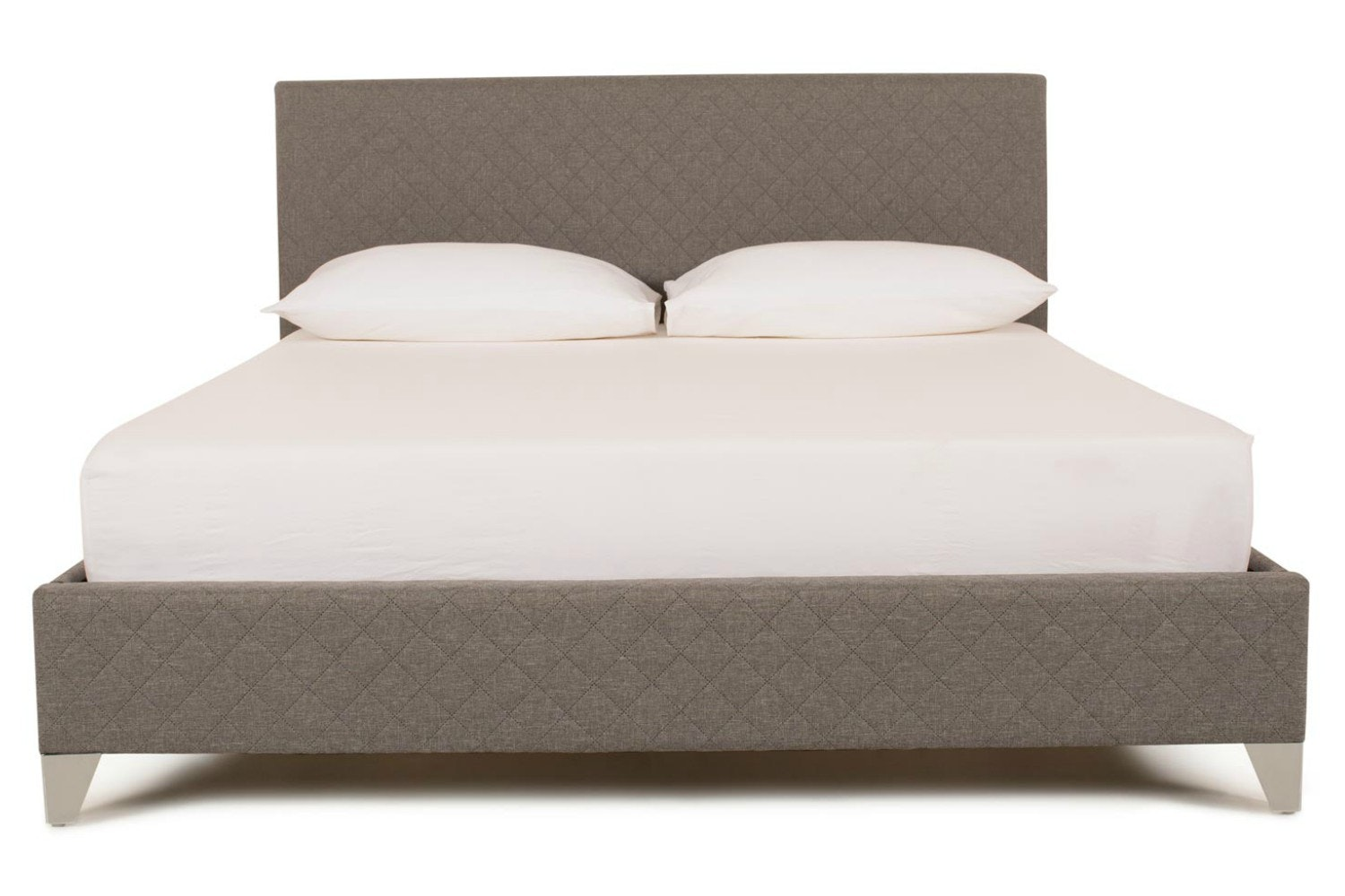 Diamond Bedframe Quilted Grey | 4ft6