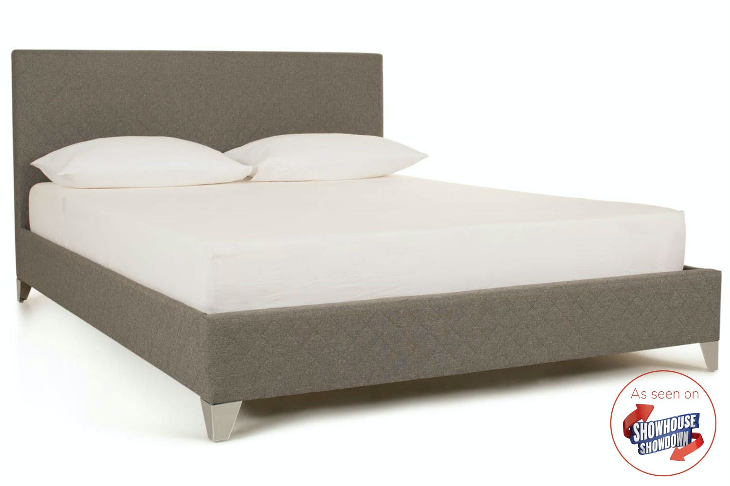 Diamond Bedframe Quilted Grey   4ft6