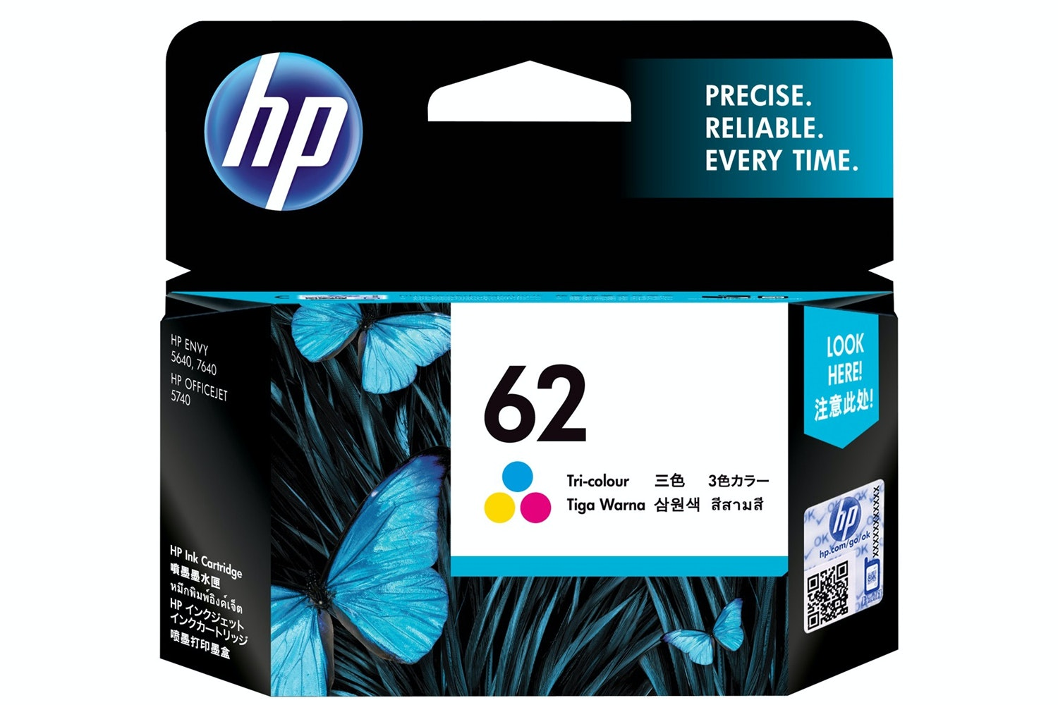HP 62 Tri-Colour Ink