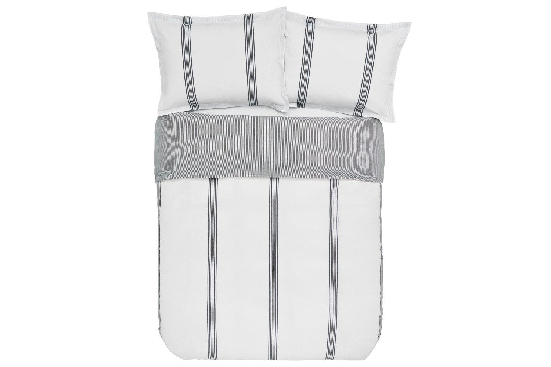 Murmur Broad Stripe Double Duvet Cover White & Indigo