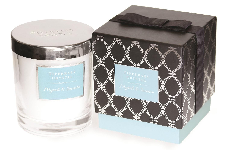 Tipperary Crystal Luxury Candle | Myrrh & Incense