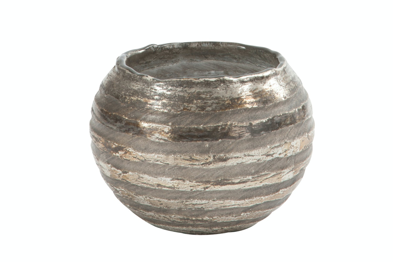Round Stripe Glass Candle holder | Small