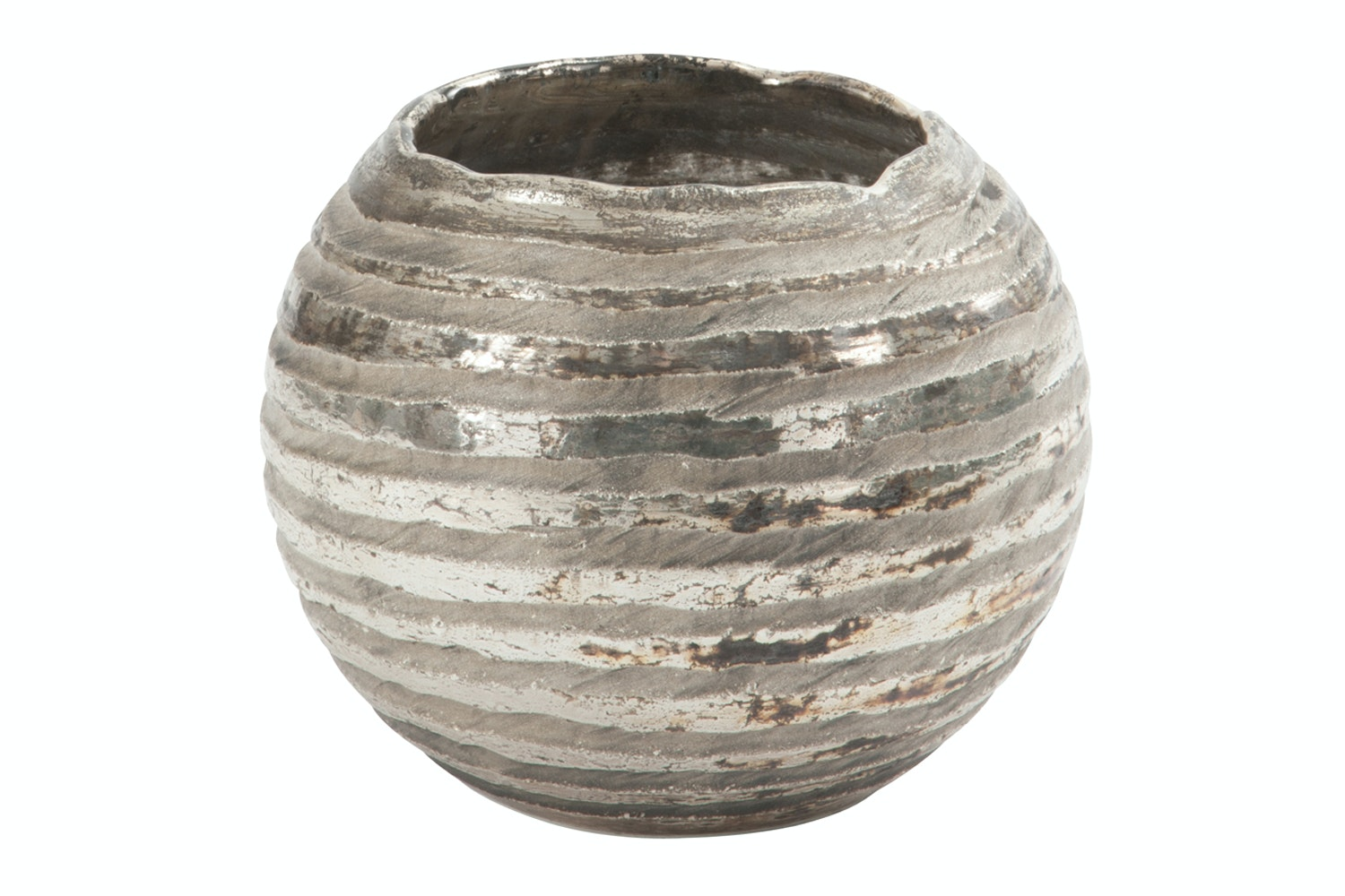 Round Stripe Glass Candle holder | Large