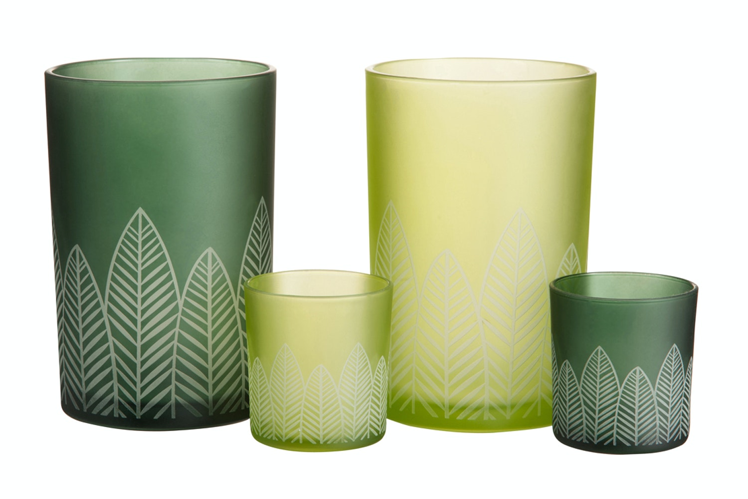 Green Hurricane Glass with Leaf Print