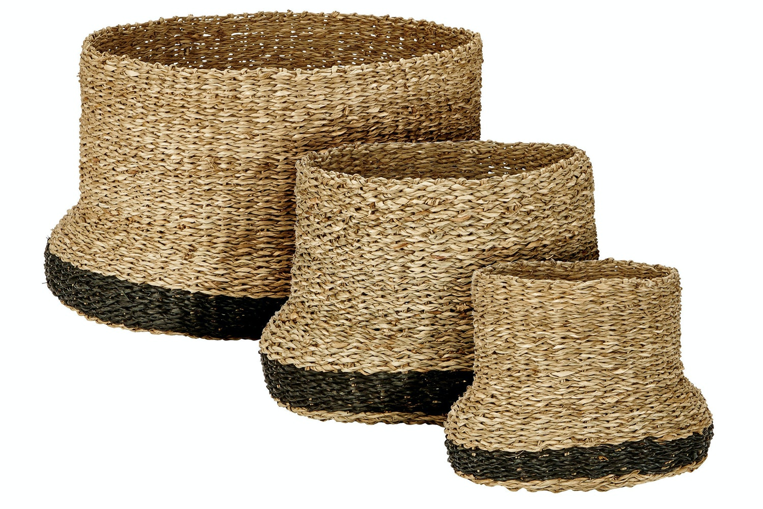 Seagrass Baskets Trio In Natural And Black