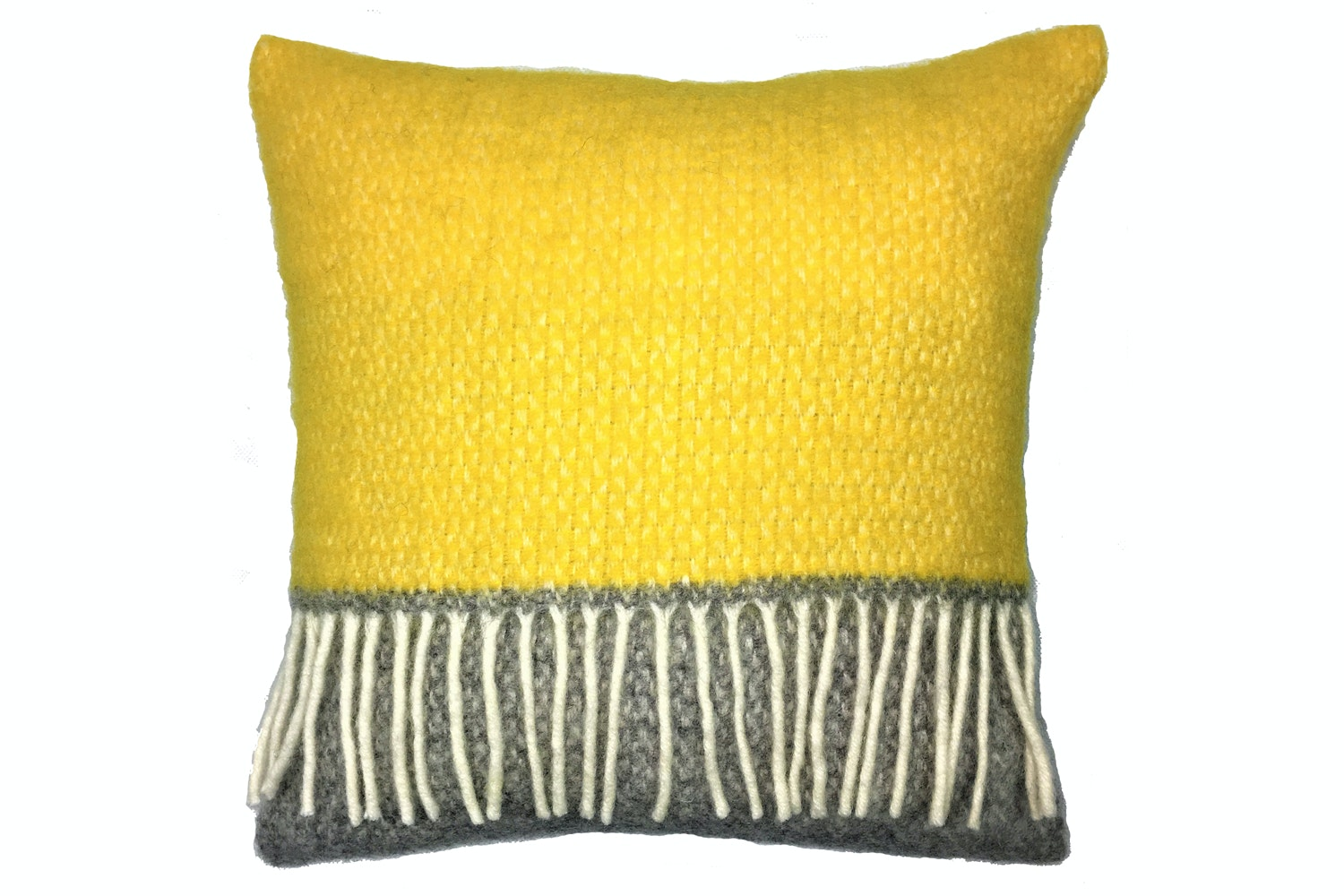 Tweedmill Illusion Panel cushion | Grey & Yellow