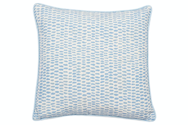 Blue Dash Print On Faux Linen