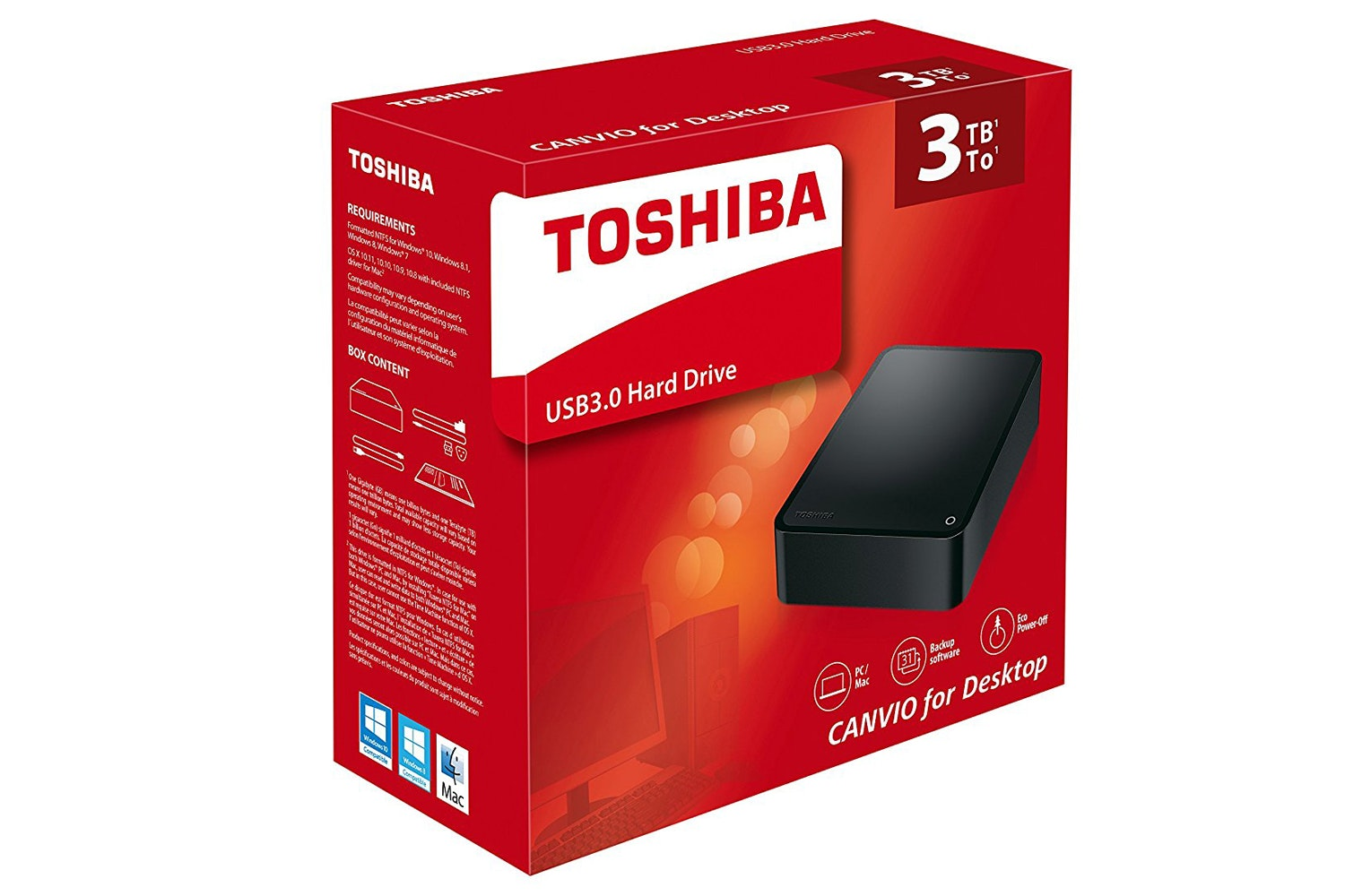 Toshiba Canvio Hard Drive for Desktop | 3TB