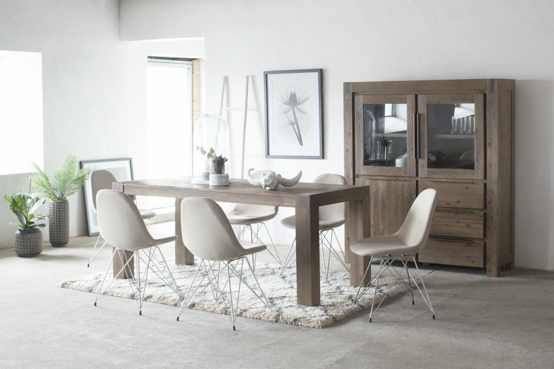 Hamburg 7 Piece Set With Livia Chairs   Grey