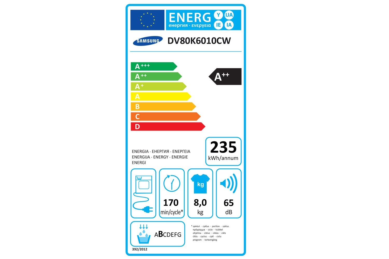 Samsung 8kg Heat Pump Condenser Dryer   DV80K6010CW/EU