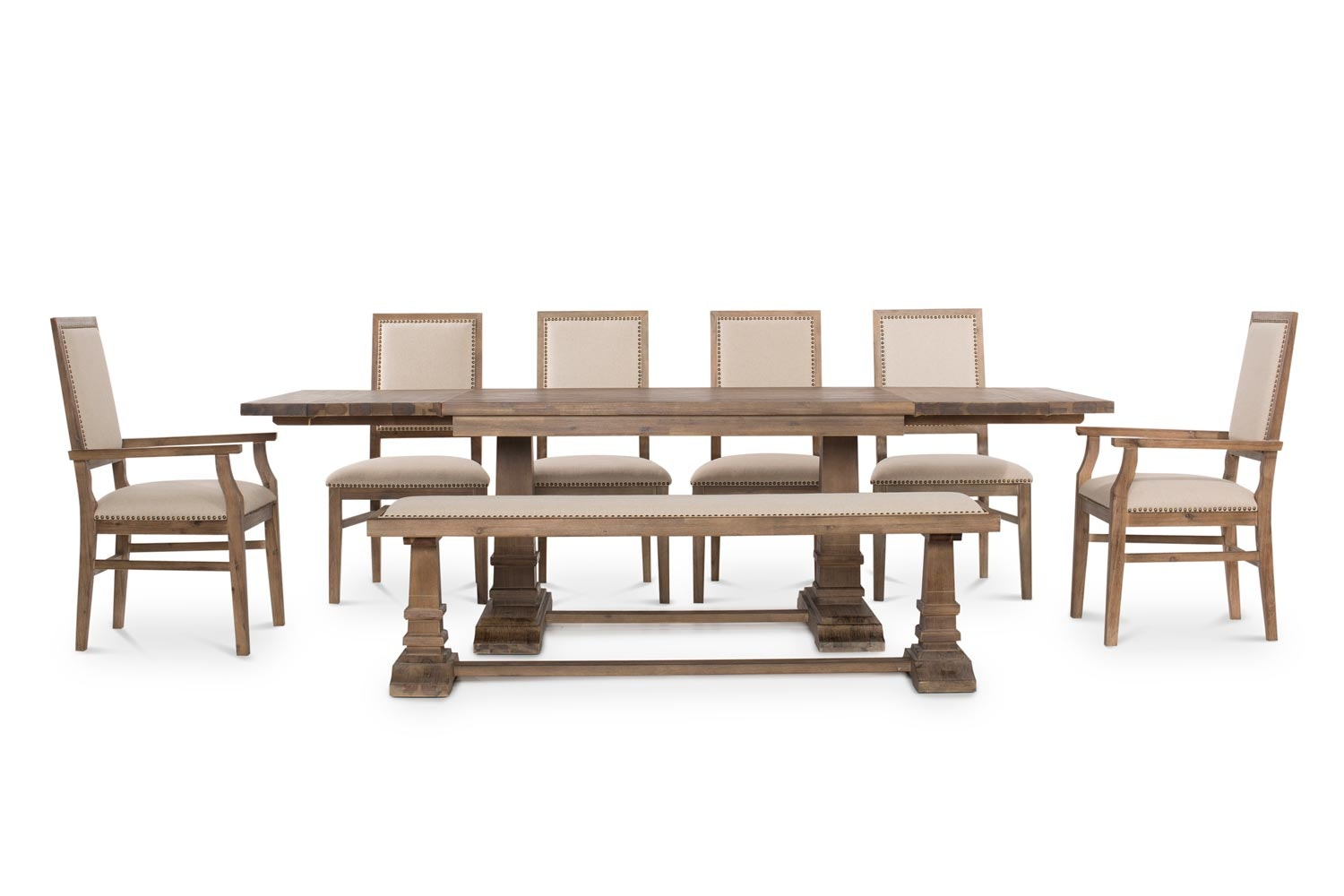 Larissa Extending Dining Set With Bench, 4 Dining Chairs and 2 Carver Chairs| 8 Piece