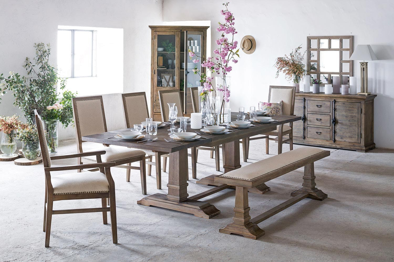 Larissa extending dining set with bench 4 dining chairs and 2 carver chairs 8
