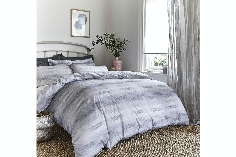 Stripe Cotton Check Grey |Super King