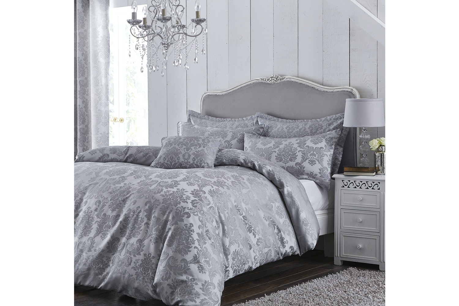 Damask Jacquard Silver Duvet Cover Set | Double