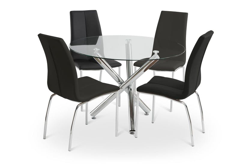 Pilar Dining Set With Black Reno Chair | 5 Piece