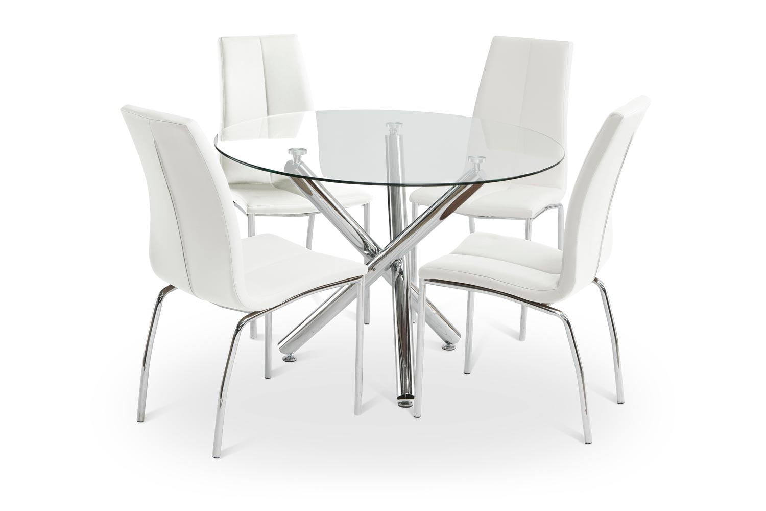 Pilar Dining Set With White Reno Chair | 5 Piece