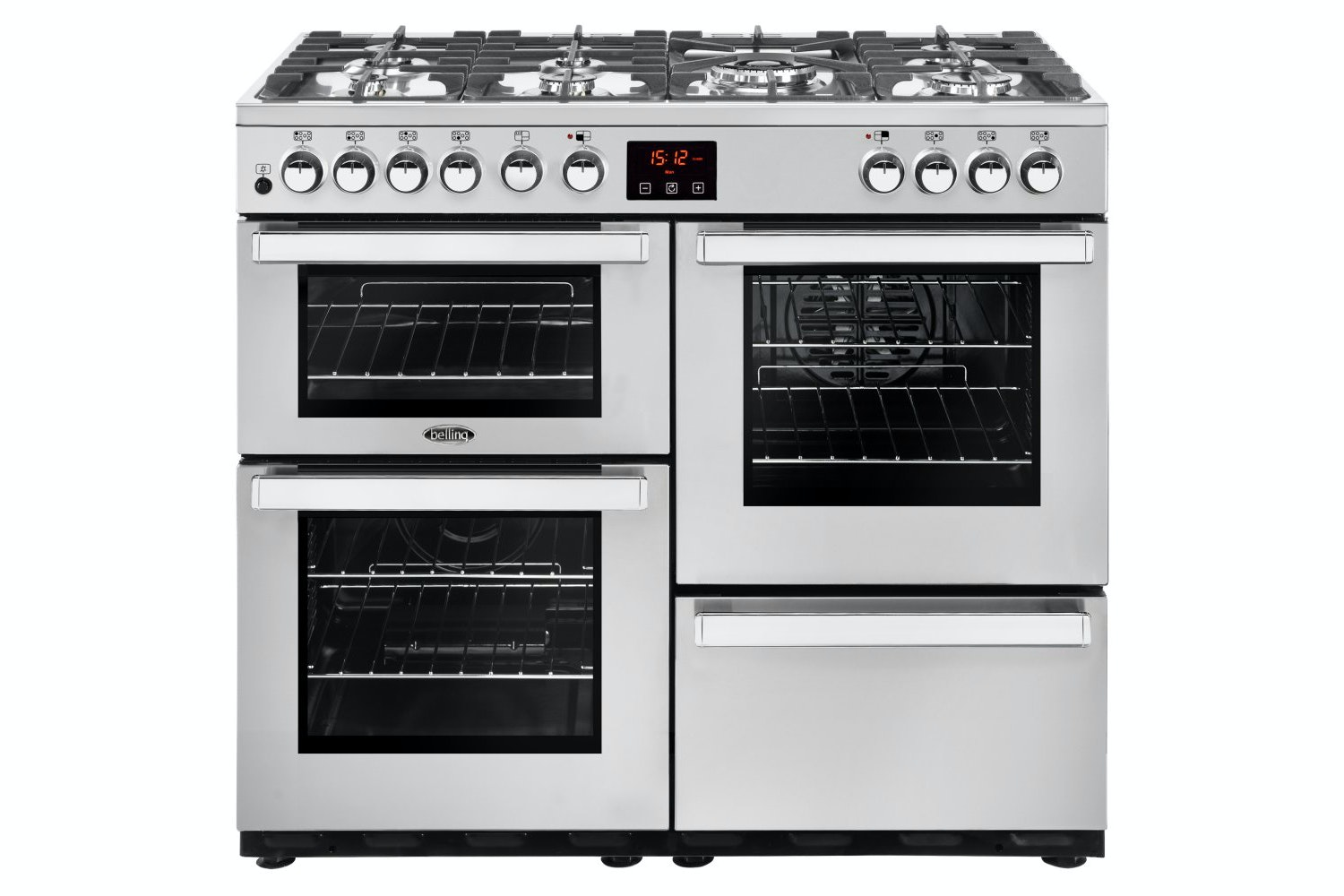 Belling Cookcentre 100cm Dual Fuel Range Cooker | 100DFTPROFSTA | Stainless Steel